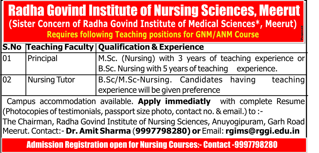 Radha Govind Institute of Nursing Sciences, Meerut