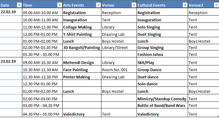 Event Schedule - Dr. Abdul Kalam Arts and Cultural Fest-2019